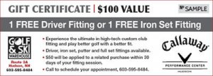 golf fitting gift certificate for a FREE driver fitting