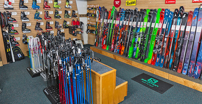 View of skis, poles and ski boots