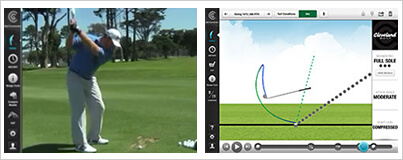 side by side view of a golfer's swing and a Wedge Analyzer's electronic read out