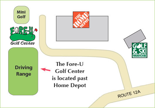 Location map of the Fore-U Golf Center - located past Home Depot