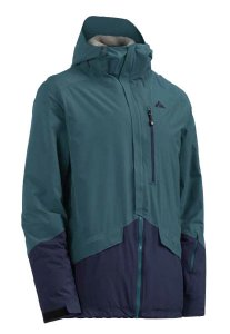 Winter jacket colored blue and green
