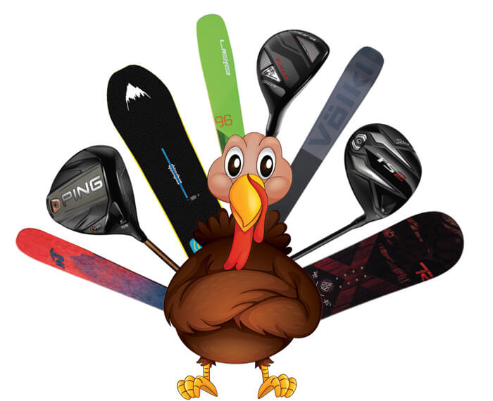 Turkey illustration with skis and snowboards in replace of tail feathers