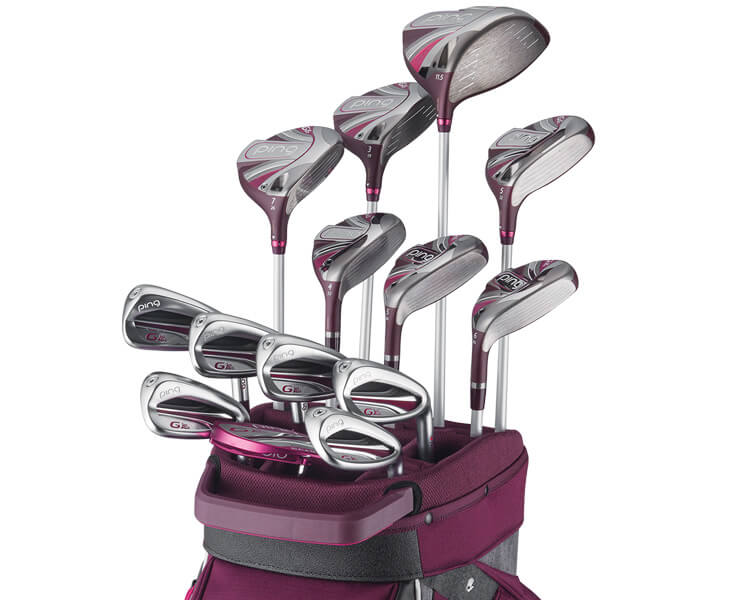 PING G Le2 Set of clubs in a dark purple golf bag